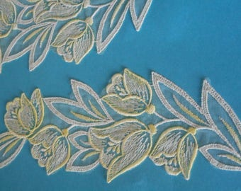 Vintage Tulle Applique Lace Piece Sewing   ~  Soft Pastel Lemon Embroidered Tulip Sprays