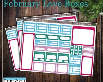 February Love Boxes, Print & cut, SVG, FCM, ScanNCut, Silhouette, Cricut, Classic Happy planner