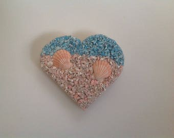 Wooden Heart and Sea Shells Wall Plaque