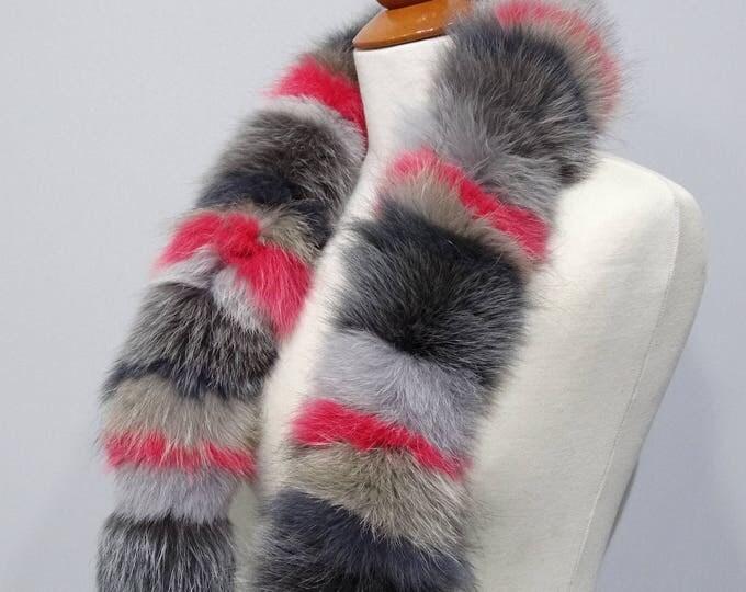 """""""Trendi"""" Fox fur scarf - Colorful Scarf F802"""
