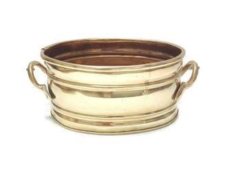vintage french  brass cache-pot, brass planter