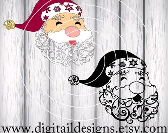 Swirl Santa svg - png - dxf - fcm - eps - ai Cut file - Silhouette - Cricut - Christmas Svg - Santa Svg - Scroll Santa -  Filigree Santa