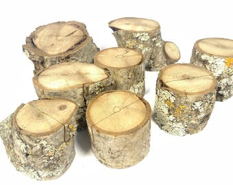 ships free country timber art rustic oak mini log card holders table number seating