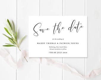 White Floral Wedding Save the Date, Professionally Printed or Digital Printable File, Mandy Suite, Flower Invitation
