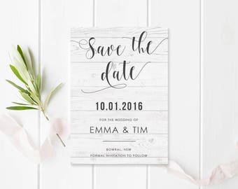 Modern Beach Grey Wedding Save the Date Card - Timber Background - Calligraphy - Free Colour Changes - Peach Perfect Australia