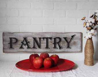 farmhouse sign, pantry sign, farmhouse kitchen, farmhouse wall decor, antique pantry, kitchen wall decor, kitchen decor, handpainted signs