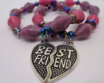 Handcrafted Best Friend Paper Bead Bracelets (Pink and purple with charms)