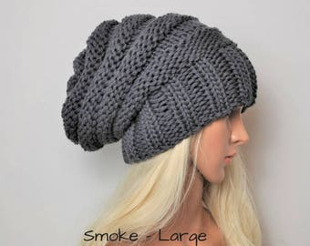 Knit hat, Grey Merino slouchy beanie, hand knit hat, chunky knit slouch hat. Wool hat, slouchy beanie, Wool hat, gift for her