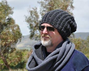 Mens beanie hat, Mens slouchy beanie, winter hat, Knit hat, Mens beanie knitted, Mens black beanie,  14 colour choices.