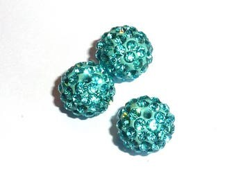 Pearl rhinestone 10 mm turquoise Shamballa P010