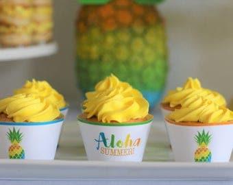 Aloha Party Digital Cupcake Wrappers