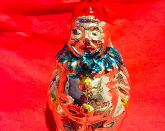 Vintage mercury glass Clown Christmas ornament Germany As is antique clown bozo