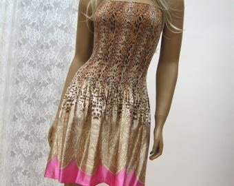 Leopard animal mini TUBE strapless dress,  satin dress, leopard dress, mini dress, tube mini dress, animalprint dress,