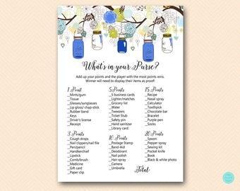Navy Blue Mason Jars Bridal Shower Games, Bridal Shower Whats in your Purse Game, Purse Raid, Purse Hunt Game, Bridal Shower Game, BS163