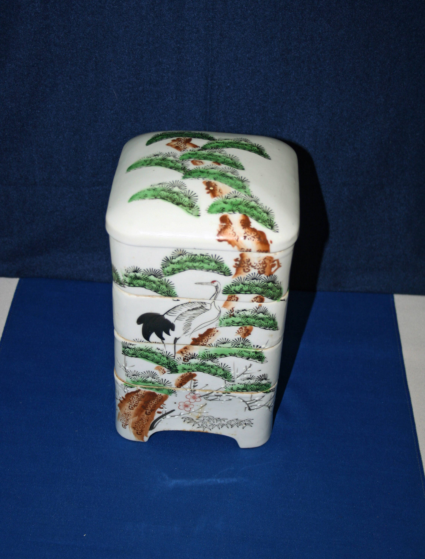 Antique Oriental Danju Jubako Koedo Stacking Box 4 Tier