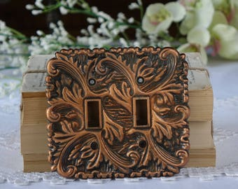 Vintage metal double light switch plate cover - Leave design - Bronze colour