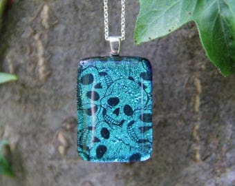 Blue skulls dichroic glass pendant, fused glass, dichroic necklace, blue dichroic , blue fused glass pendant, skull dichroic,