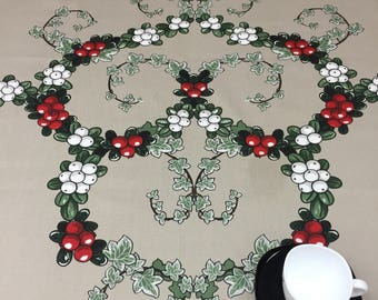 Beige Tablecloth with green Holly garland, Tablecloth with red berries , Christmas tablecloth