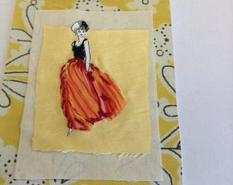 Vintage fashion - handmade mixed media collage using paper, fabric and embroidery