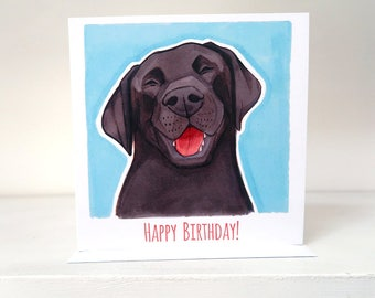 Black Labrador Happy Birthday Card