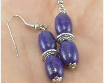 Lapis lazuli, deep blue stone - 123Pierres jewelry earrings