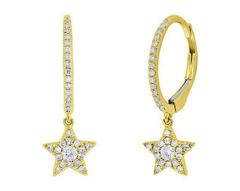 Unique 0.23ct 14k Yellow Gold Diamond Star Earring, Flirty Feminine Star Earrings