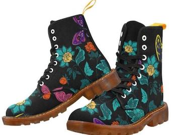 Sandra Burchette Signature Martin Style Boots ~ Floral