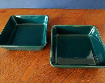 Arabia Finland vintage Kilta Teema square platter in green color by Kaj Franck, 2 available, Mid Century Scandinavian serving plate or bowl