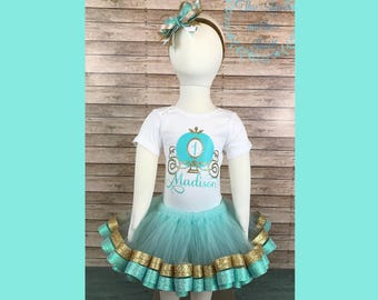 Cinderella First Birthday Outfit, Princess First Birthday Outfit, One Year Old Princess Outfit, Cinderella Tutu Set, Princess Tutu Set