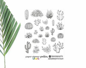 Succulent Doodles Planner Stickers Inkwell Press Livewell Erin Condren Plum Paper Planner Decorative Sticker Coloring Hand Drawn Black White