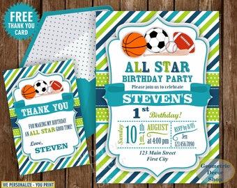 All Star Birthday Party Invitation Invite Soccer Baseball Basketball Football 1st 2nd Boy Blue Green Photo Photograph Printable First BDSP20