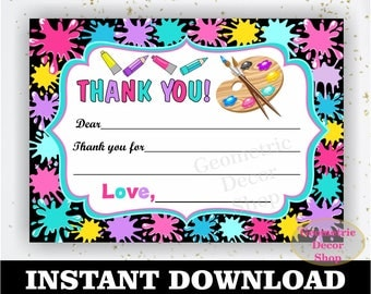 Instant Download Paint blank Thank you card Art Party Bag Tags Painting Birthday Party Favor Tags Pink Purple Teal Yellow Girl THPaint1
