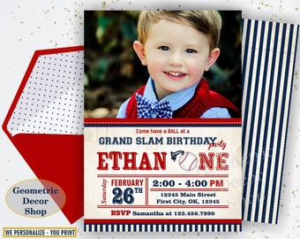 Vintage Baseball Birthday invitation / Sports Invite / All star invitations / First Ball red blue invites boy girl photo photograph BDSP31/7