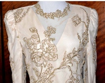 ON SALE Vintage Rina Di Montella Champagne Formal Gown, Mother of the Bride, Cream Evening Gown, 2nd Wedding Gown, Cream and Gold Gown, Brid