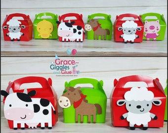 6 Farm Animal  Themed Gable Favor Boxes