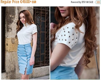 White Top / Womens Tops / Short Sleeve Top / Top With Eyelets / Womens Blouses / Stylish Top