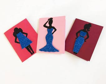 Ladies In Blue Set of 3 Handmade, Hand painted Greeting Cards / 3D/ Fashion Greeting Cards / Silhouette Cards / Glitter Cards / Blank Cards
