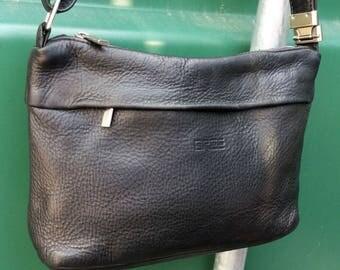 Vintage Bree Black leather messenger purse, Cross body messenger bag.  Bree Germany quality leather messenger bag