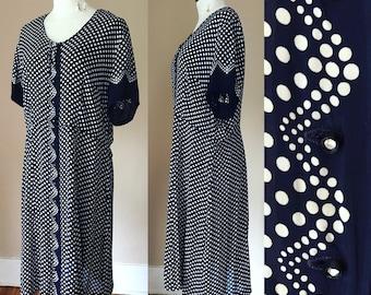 Size X-Large. 1940s Dress. World War II Era Dress. 1940s Semi Sheer Rayon Dress. 1940s Polka Dot Dress. 40s Dress.