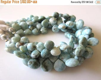 ON SALE 50% 9mm To 11mm Natural Larimar Faceted Heart Shaped Briolette Beads, Larimar Jewelry, Larimar Stone, 8 Inch Strand, GDS710