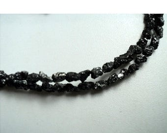 ON SALE 50% Rough Diamonds, Raw Diamonds, Conflict Free Diamond, Black Diamond, 3mm To 5mm Beads, 16 Inch Strand