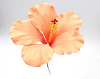 Hibiscus Sugar Flower in Peach tones for wedding cake topper, tropical wedding, diy brides, summer weddings, showers, and birthdays