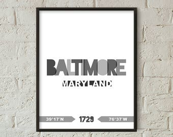 Baltimore Print, Baltimore Printable, Baltimore Poster, Baltimore Wall Art, Baltimore Coordinates, Baltimore Minimalist Decor (W0231)