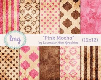 "Pink and Brown Digital Scrapbooking Paper - ""Pink Mocha"" - Vintage, Shabby Chic, Polka Dots, Damask, Stripes, Floral, Commercial Use"