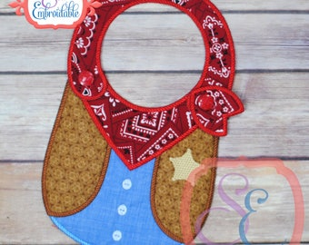 COWBOY BABY BIB - In The Hoop Design For Machine Embroidery