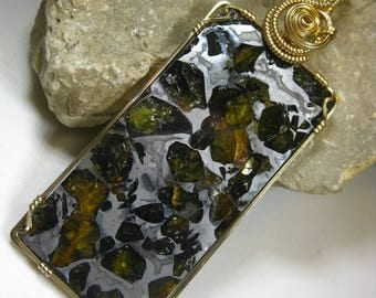 Top Quality, Exceptional XL Russian Pallasite Meteorite (Seymchan) Pendant in 14k Gold Filled Wire
