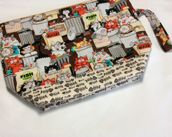 Zippered project bag - Trashy cats