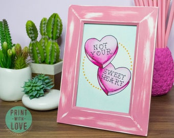 Framed Vintage Retro Tattoo Flash Style Original Watercolor Not Your Sweet Heart Candy Distressed Pink Painting 4x6 FREE US SHIPPING