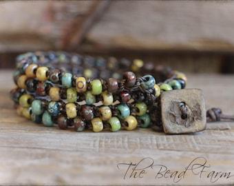 Beaded Crochet Jewelry, Crochet Wrap Bracelet, Boho Beach Jewelry, Crochet Beaded Anklet, Crocheted Jewelry, Beach Jewelry, Crocheted Anklet