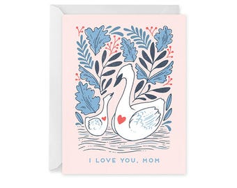 Card for Mom - Swan Card - Mother and Child Card - Single Card - Swan Mom Mother's Day Card Blank Inside